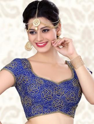 Wonder full designer blue raw silk ready made blouse