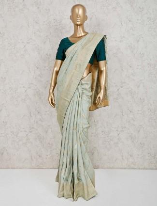 Wonderful green saree in dola silk