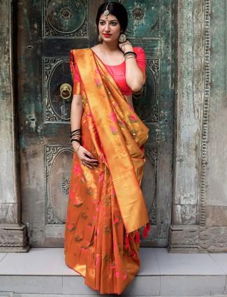 Wonderful orange hue kanjivaram silk saree