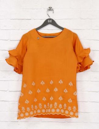 Wonderful orange hue top in cotton