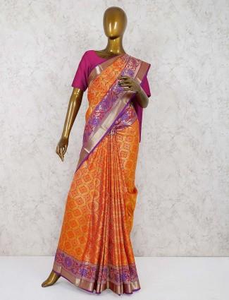 Wonderful orange semi silk wedding saree