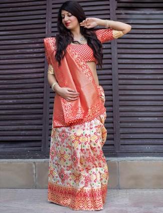 Wonderful white banarasi patola silk saree