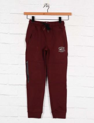 Xn Sport maroon solid cotton payjama
