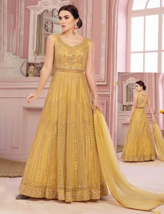 Yellow anarkali salwar suit in net