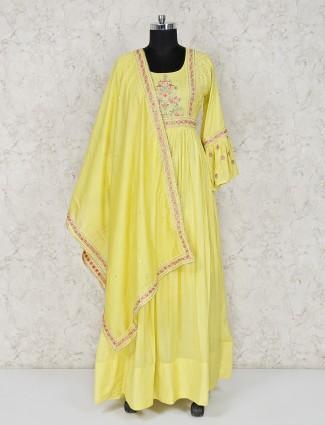 Yellow anarkali suit in cotton silk