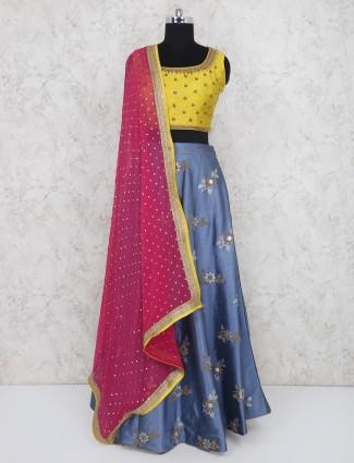 Yellow and blue festive function silk lehenga choli