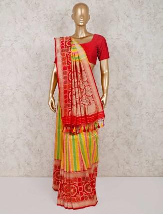 Yellow and red banarasi silk saree in wedding