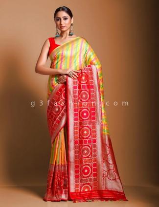 Yellow and red pure handloom banarasi silk saree in wedding