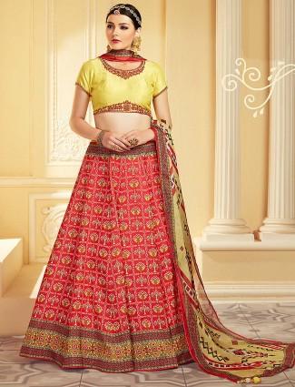 Yellow and red color patola silk printed lehenga choli