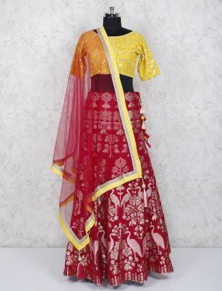 Yellow and red hue silk farbic wedding lehenga choli