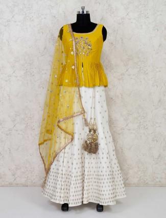 Yellow and white cotton silk peplum lehenga choli