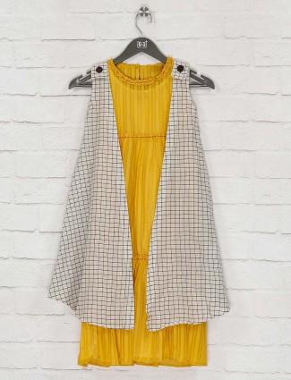 Yellow and white jacket style checks kurti