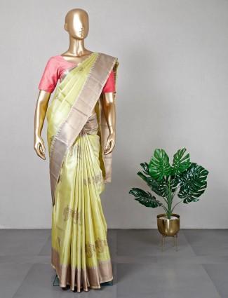 Yellow banarasi banarasi cotton silk saree for festive session