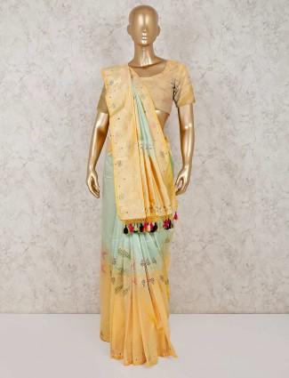 Yellow banarasi silk saree for reception wear