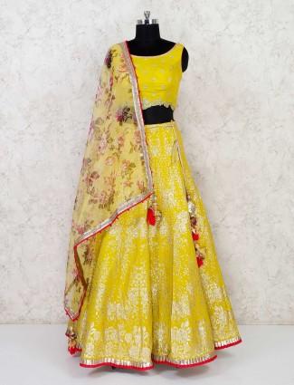 Yellow banarasi silk wedding wear lehenga choli