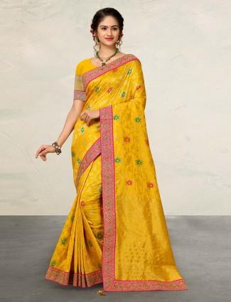 Yellow banarasi silk wedding wear sari