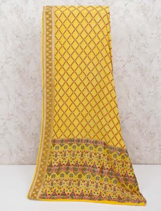 Yellow beautiful bandhej saree