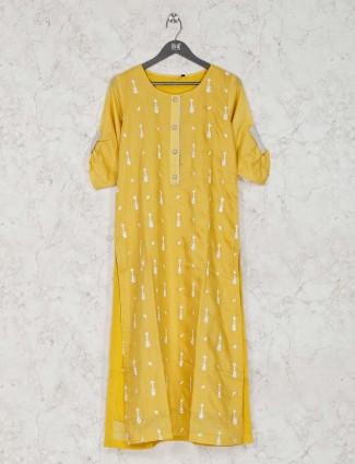 Yellow casual wear cotton designer kurti