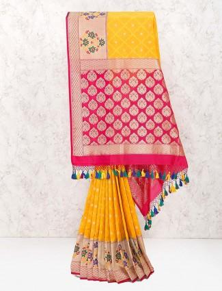 Yellow color amazing wedding saree in banarasi semi silk