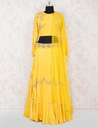 Yellow color cotton silk fabric wedding lehenga choli