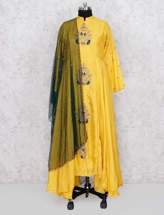 Yellow color cotton silk festive designer salwar suit