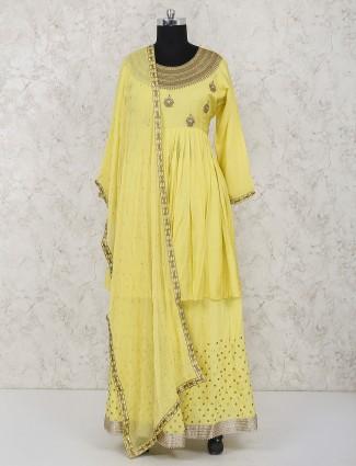 Yellow color cotton silk party punjabi lehenga suit
