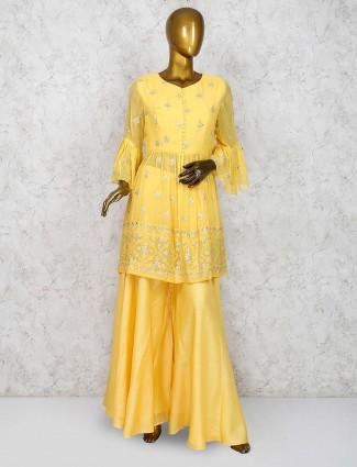 Yellow color georgette festive punjabi palazzo suit