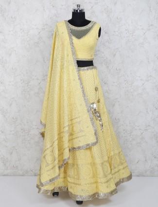 Yellow color georgette wedding designer lehenga choli