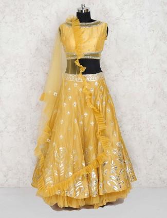 Yellow color lehenga choli in silk fabric