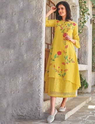 Yellow color long festive kurti