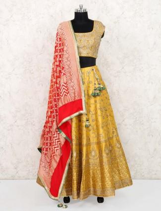 Yellow color pretty lehenga choli in silk