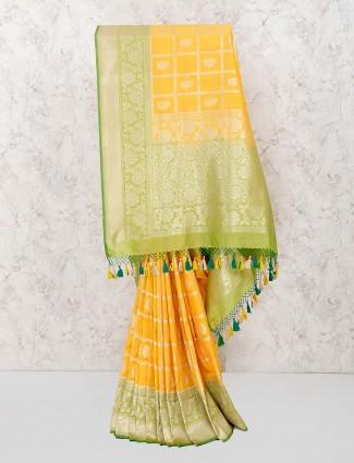 Yellow color saree in banarasi semi silk
