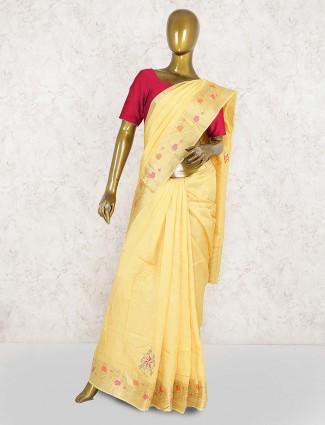 Yellow color semi silk designer saree