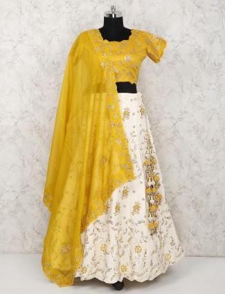 Yellow color silk wedding lehenga choli