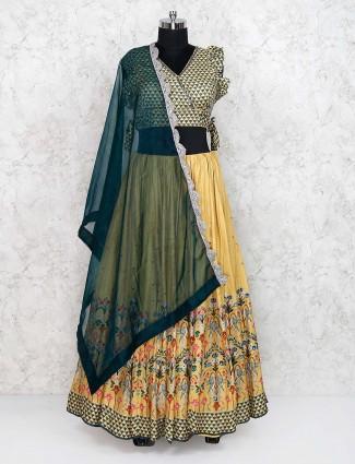 Yellow color wedding cotton silk printed lehenga choli