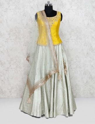 Yellow colored cotton silk wedding lehenga choli
