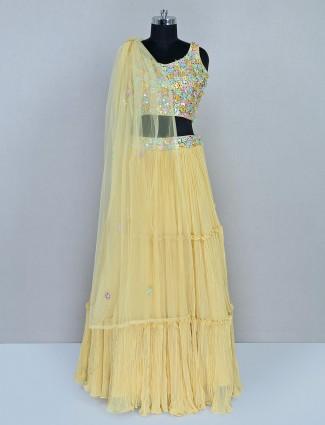 Yellow colored georgette lehenga choli