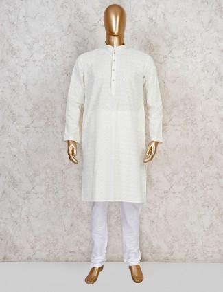 Yellow cotton evening look festive kurta suit