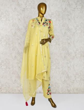 Yellow cotton fabric punjabi salwar suit