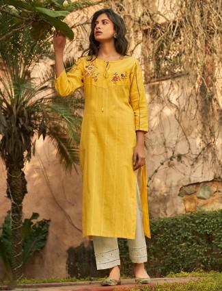 Yellow cotton festive punjabi pant suit