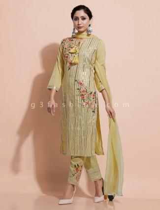 Yellow cotton festive wear kurti set
