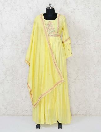 Yellow cotton floor length anarkali salwar suit