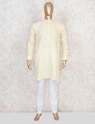 Yellow cotton kurta suit for festive wear