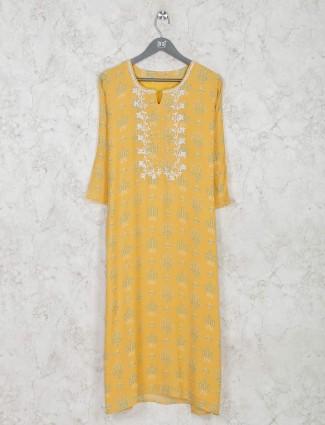Yellow cotton kurti with floral print