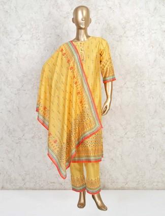 Yellow cotton printed casual salwar suit