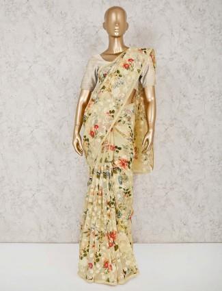 yellow cotton printed cotton saree