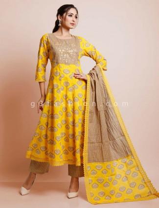 Yellow cotton punjabi festive wear palazzo suit