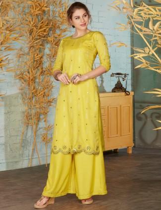 Yellow cotton round neck punjabi palazzo suit