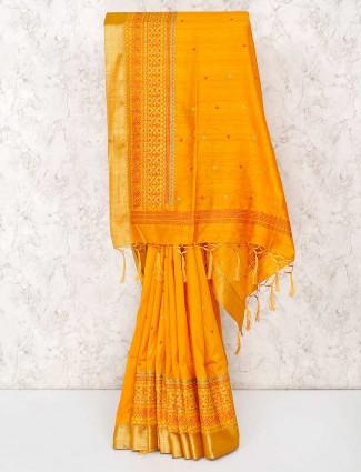 Yellow cotton sari