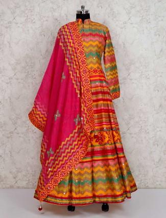 Yellow cotton silk anarkali salwar suits